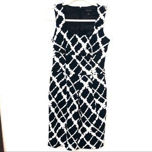 White House Black Market Black Patterned Dress 0